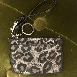 Coach leopard cheetah logo coin case keychain